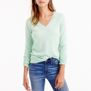J Crew mint v neck cotton sweater Large